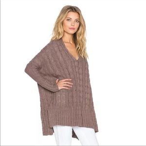 Free People Easy Cable Knit Oversized Long Sleeve Sweater Top Women's Medium